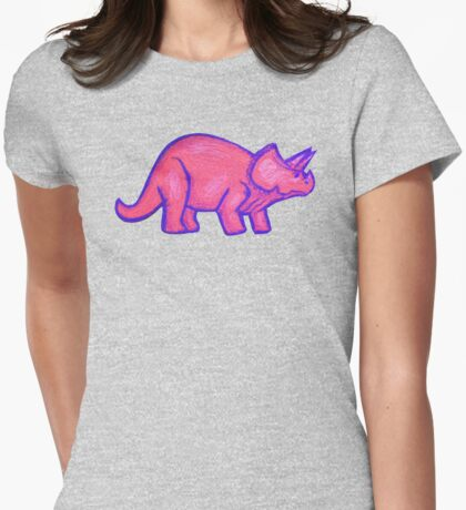 Pink Triceratops  Womens Fitted T-Shirt