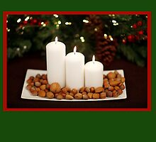 Christmas card with candles on platter by Cheryl Hall