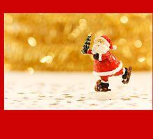 Christmas card with ice skating Santa by Cheryl Hall