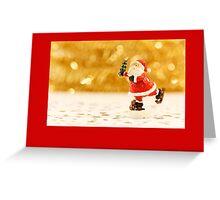 Christmas card with ice skating Santa Greeting Card