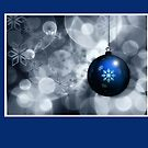 Christmas card with blue bauble by Cheryl Hall