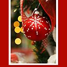 Christmas card with red bauble by Cheryl Hall
