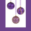 Christmas card with purple baubles by Cheryl Hall