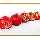 Christmas card with red baubles by Cheryl Hall