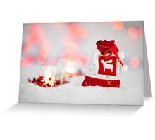 Christmas card with santa sack reindeer Greeting Card