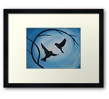 Pale and bright blue painting of two birds and a branch Framed Print