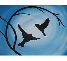 Pale and bright blue painting of two birds and a branch Photographic Print