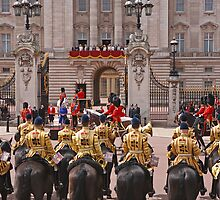 The Queen & Duke of Kent outside Buckingham Palace after Trooping The Colour by Keith Larby