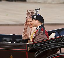 Prince Edward with his wife Sophie returning from Trooping The Colour by Keith Larby