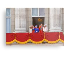 The Queen, Prince Charles, Camilla, Prince William & Kate on the balcony after Trooping The Colour Metal Print