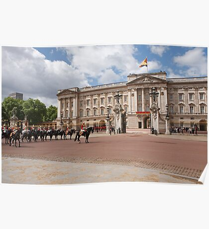 The household cavalry await the Queen before Trooping The Colour Poster