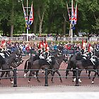 Soldiers pass Queen Victorias Memorial statue before Trooping The Colour by Keith Larby