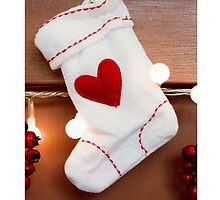 Christmas card with Christmas stocking by Cheryl Hall