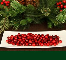 Christmas card with Christmas berries on platter by Cheryl Hall