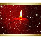 Christmas card with candle and love heart by Cheryl Hall