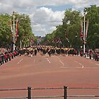 Soldiers marching up the mall at Trooping The Colour by Keith Larby