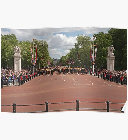 Soldiers marching up the mall at Trooping The Colour Poster