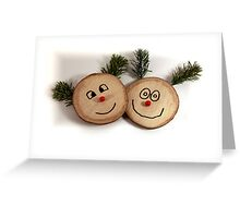 Christmas card with funny faces Greeting Card