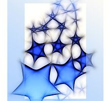 Christmas card with blue stars by Cheryl Hall