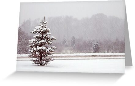 Christmas card with white Christmas snowscene by Cheryl Hall