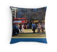 Waiting to Cross (with border) Throw Pillow
