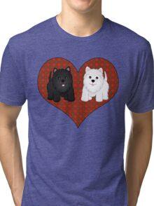 Scottie Dogs in a Tartan Heart Tri-blend T-Shirt