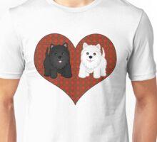 Scottie Dogs in a Tartan Heart Unisex T-Shirt