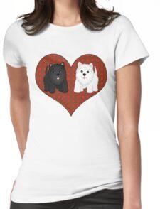 Scottie Dogs in a Tartan Heart Womens Fitted T-Shirt