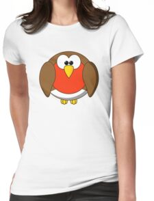 Cute Christmas Robin Redbreast Womens Fitted T-Shirt