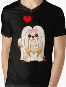 Cute Little Shih Tzu Puppy Dog Mens V-Neck T-Shirt