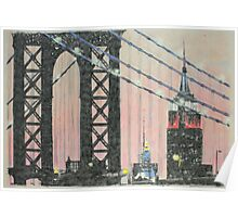 Manhattan Bridge and the Empire State Poster