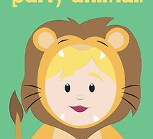 Party Animals Birthday Card (Lion) by Digital Art with a Heart