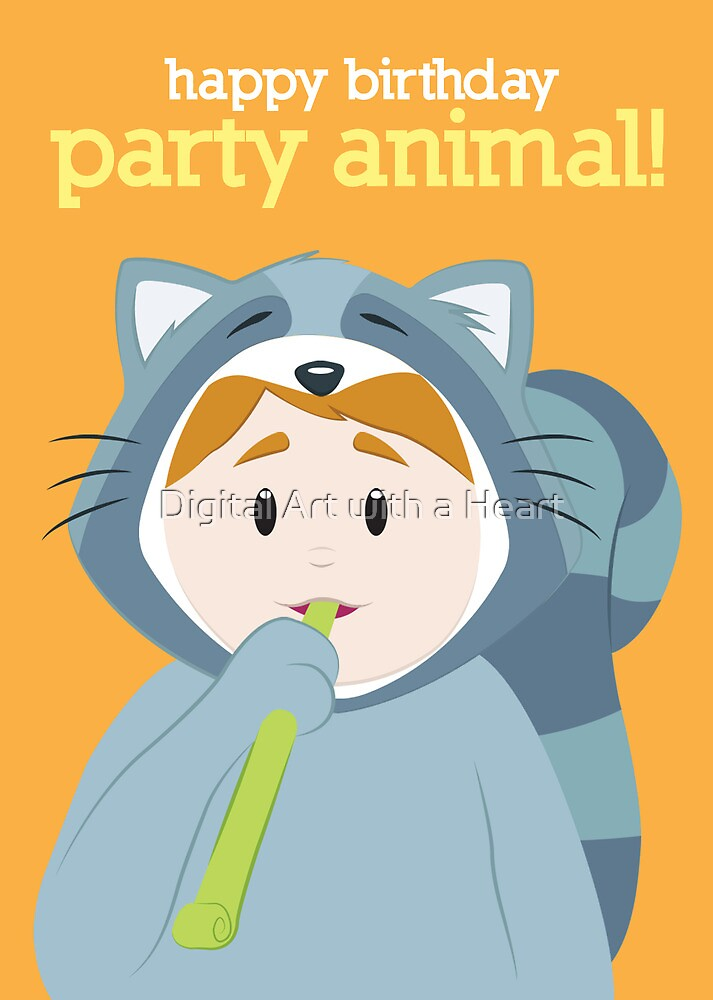 Party Animals Birthday Card (Raccoon) by Digital Art with a Heart
