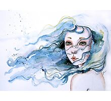 """Lily"" Surreal Watercolor Portrait Photographic Print"