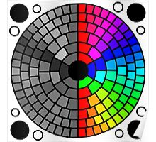 Rainbow circle color and grayscale pattern Poster
