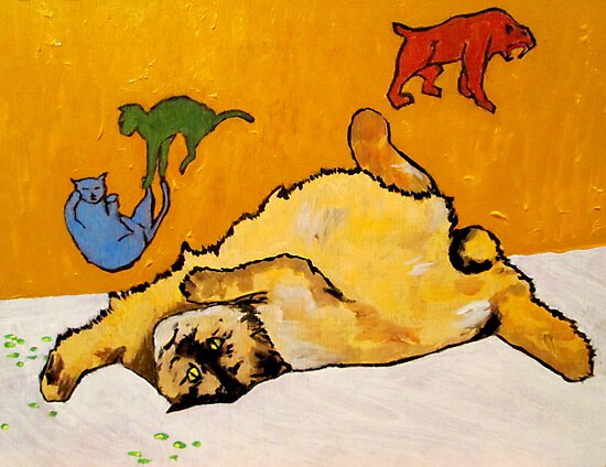 Cat Catnip Cave Paintings by David Olson