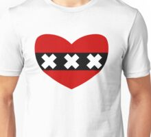 Heart Shaped Flag of Amsterdam Unisex T-Shirt