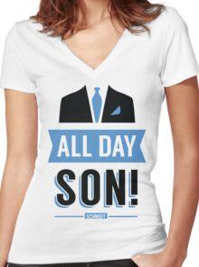 All Day Son Schmidt Tshirt | New Girl T-Shirt Tee Nick Miller Cece Winston Jess TV Quote Meme Gift Him Her douchebag jar Schmidt Happens uk Women's Fitted V-Neck T-Shirt