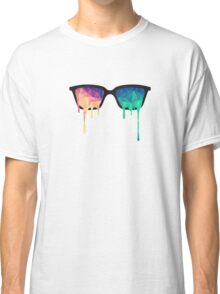 Psychedelic Nerd Glasses with Melting LSD/Trippy Color Triangles Classic T-Shirt