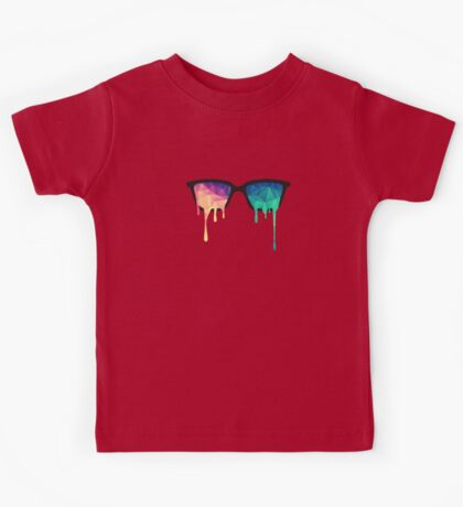 Psychedelic Nerd Glasses with Melting LSD/Trippy Color Triangles Kids Tee