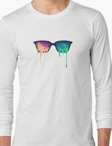 Psychedelic Nerd Glasses with Melting LSD/Trippy Color Triangles Long Sleeve T-Shirt