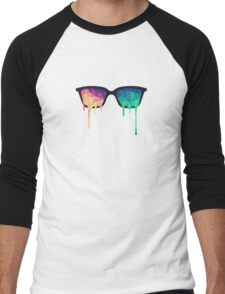 Psychedelic Nerd Glasses with Melting LSD/Trippy Color Triangles Men's Baseball ¾ T-Shirt