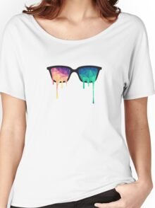 Psychedelic Nerd Glasses with Melting LSD/Trippy Color Triangles Women's Relaxed Fit T-Shirt