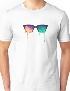 Psychedelic Nerd Glasses with Melting LSD/Trippy Color Triangles Unisex T-Shirt