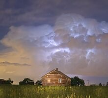 Rural Country Cabin Lightning Storm by Bo Insogna