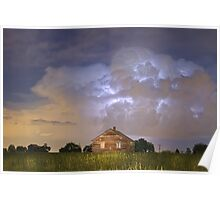 Rural Country Cabin Lightning Storm Poster