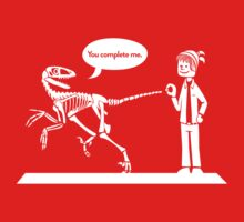 """You Complete Me"" Deinonychus and Paleontologist Toon Kids Tee"