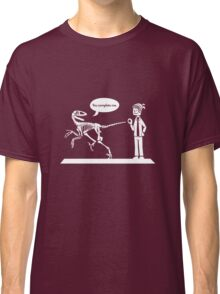 """You Complete Me"" Deinonychus and Paleontologist Toon Classic T-Shirt"