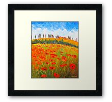 Poppies in Tuscany Framed Print