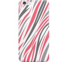 Pink Grey White Zebra Stripe Pattern iPhone Case/Skin